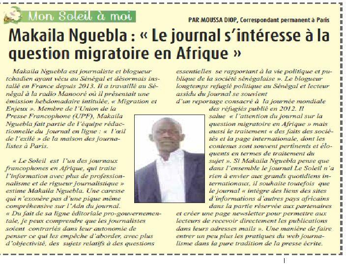 Le blogueur tchadien interviewé par le correspondant à Paris du prestigieux journal sénégalais &quot&#x3B;Le Soleil&quot&#x3B;
