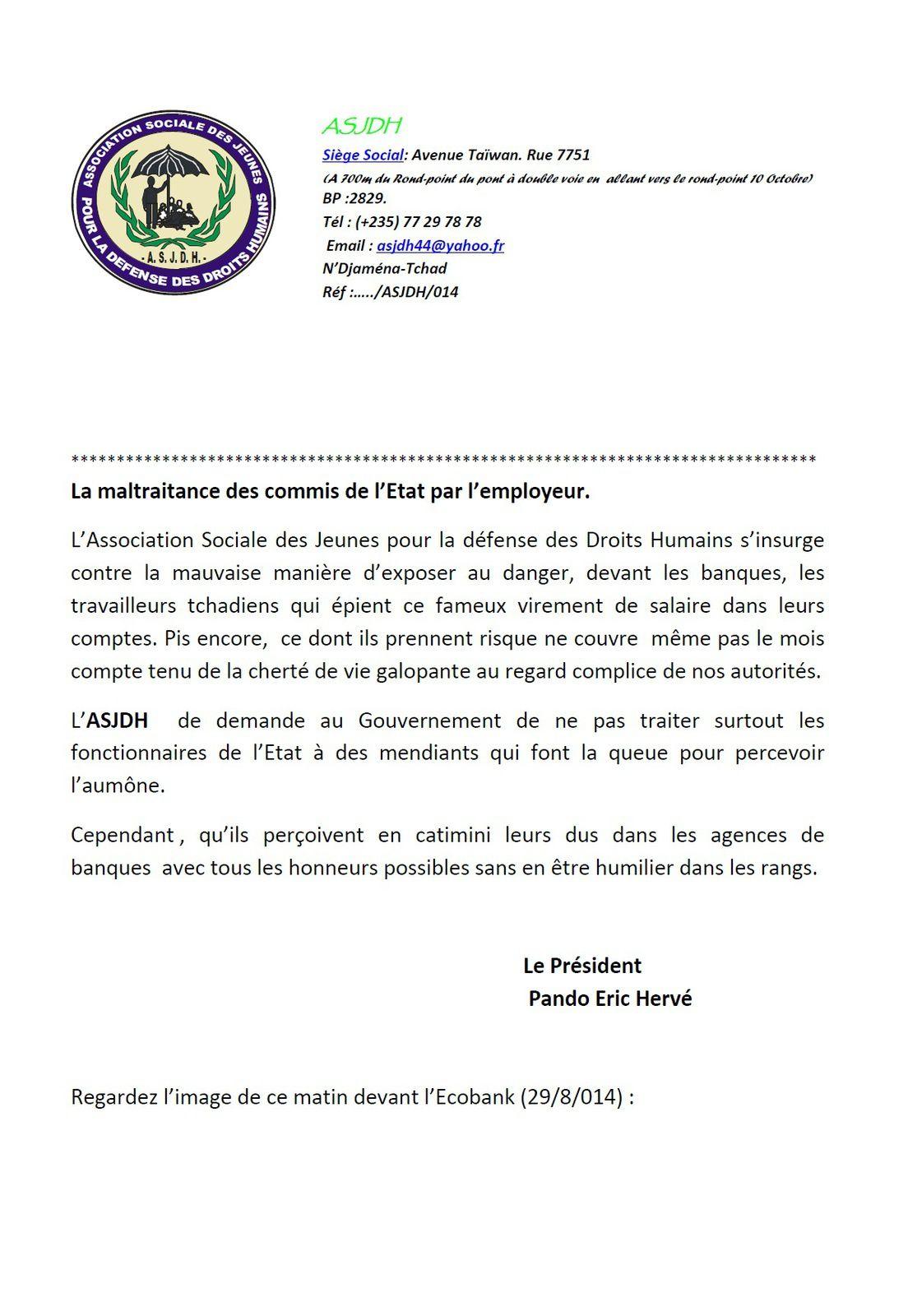 Tchad: l'ASJDH s'insurge contre la maltraitance des commis de l'Etat par l'employeur