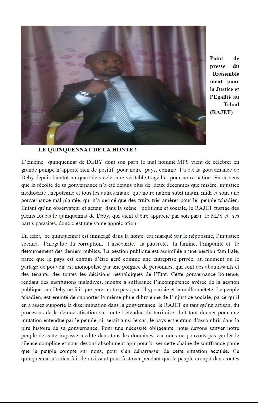 Point de presse du leader de Rassemblement pour la Justice et l'Egalité au Tchad (RAJET)