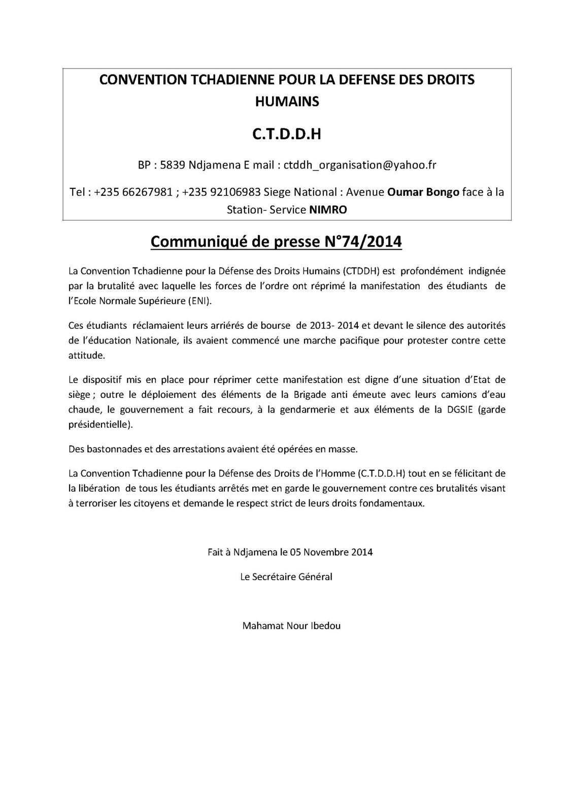Affaire des étudiants au Tchad: la CTDDH s'indigne!