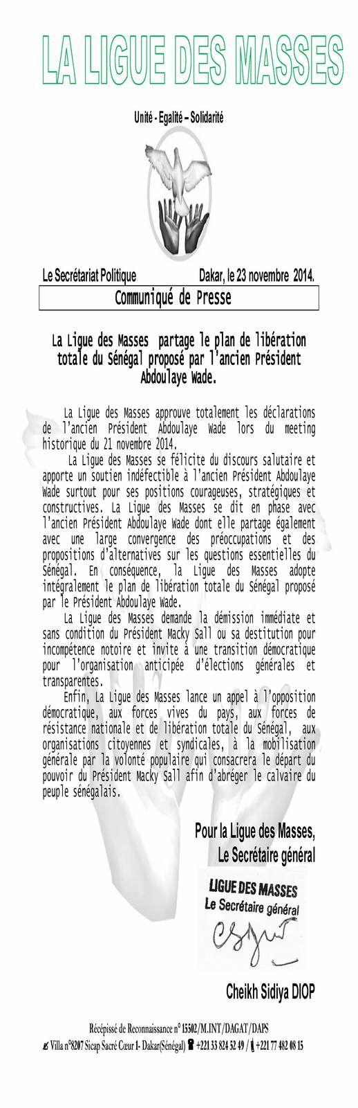 Sénégal: la Ligue des Masses adhère à l'appel lancé par Me Abdoulaye Wade
