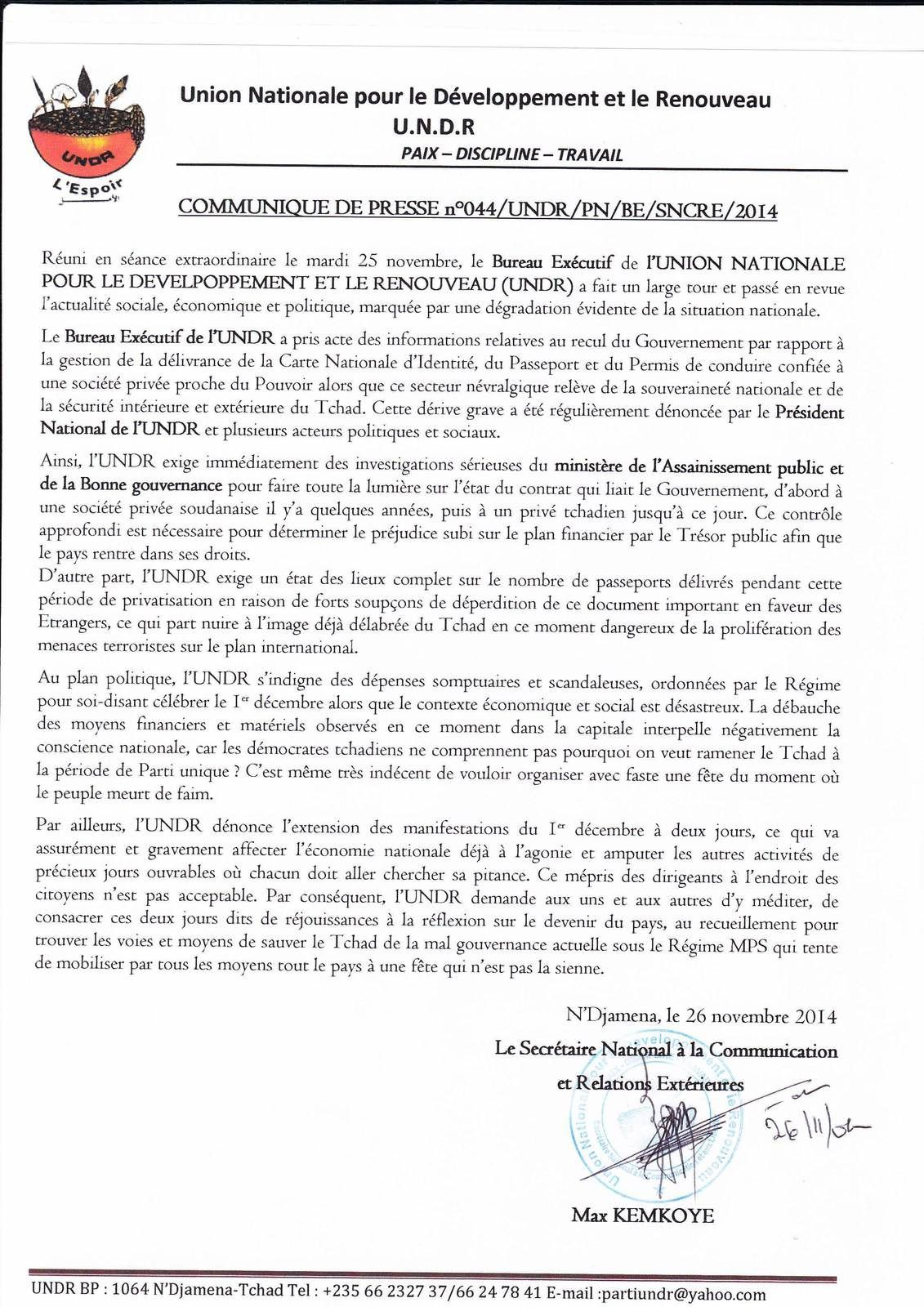 Tchad: l'UNDR interpelle le Ministère de l'Assainissement et de la Bonne gouvernance