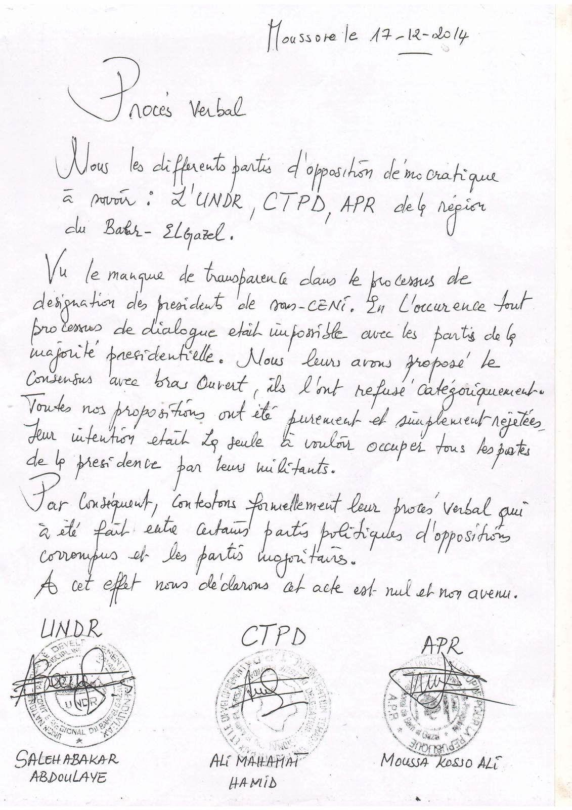 Tchad: voici le procès verbal en question