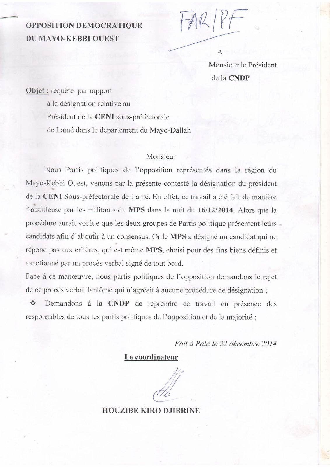 Tchad:requête des contestations
