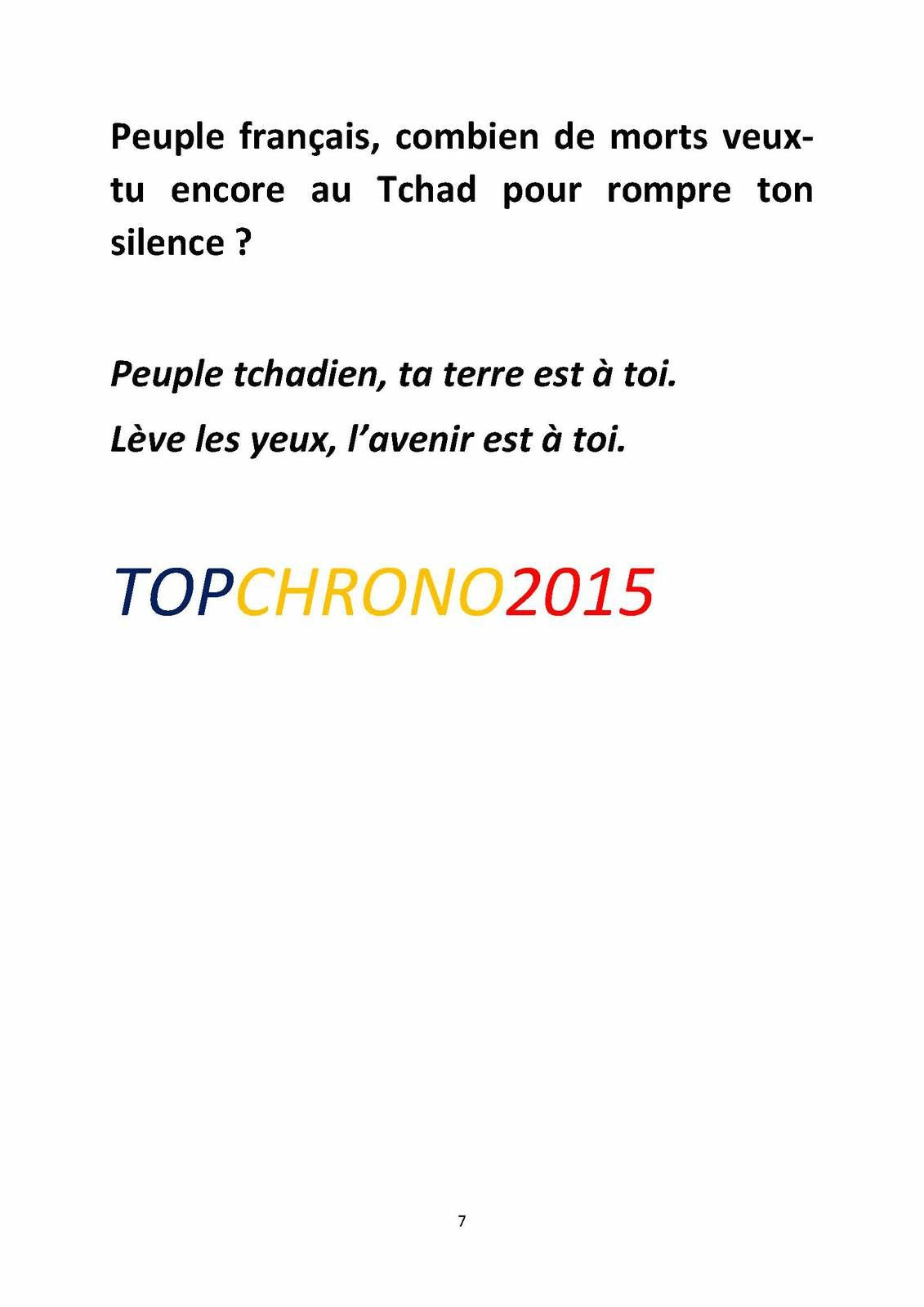Tchad: TOPCHRONO2015 interpelle le Président Obama