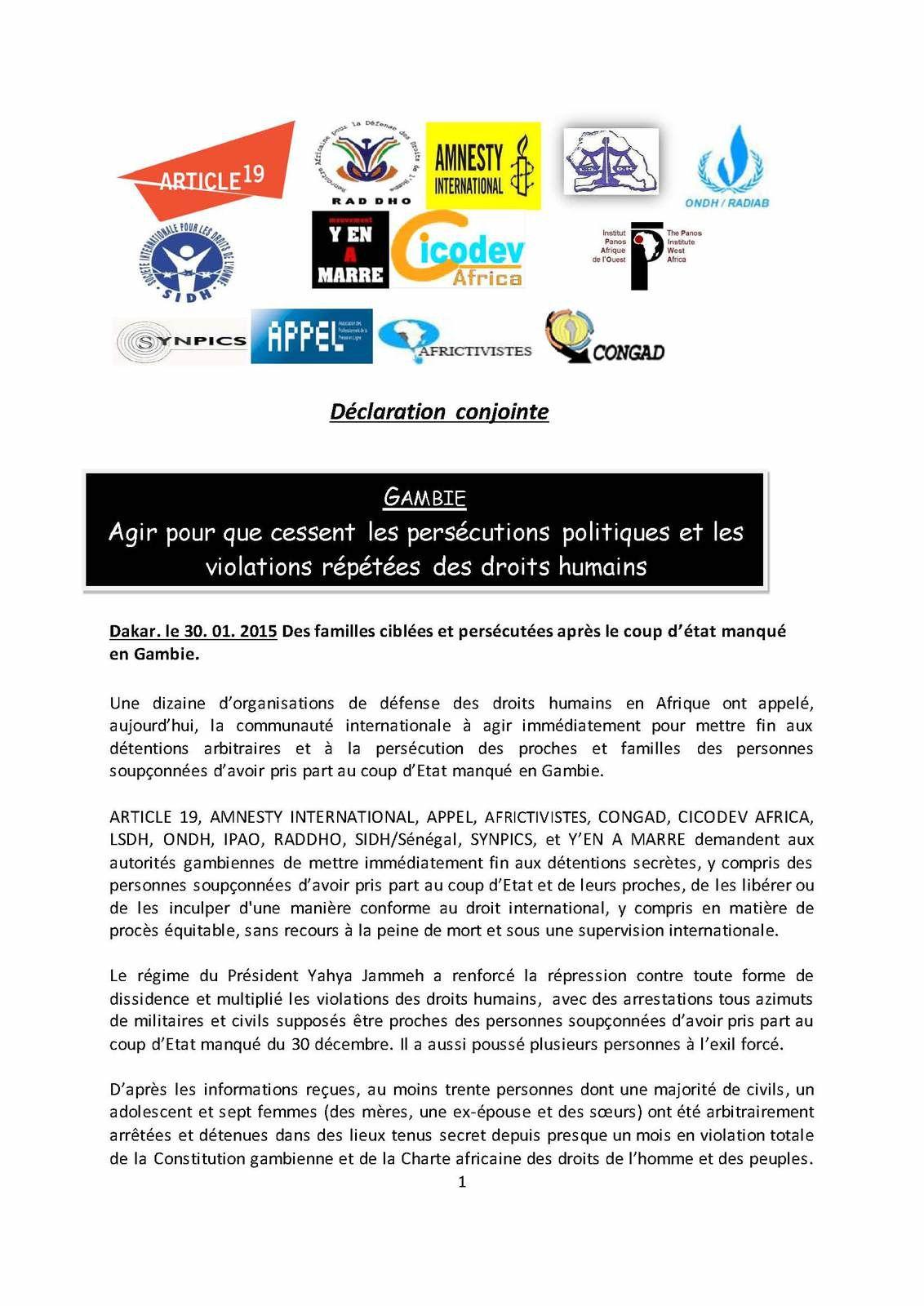 Gambie: Agir pour que cessent les persécutions politiques et les violations répétées des droits humains