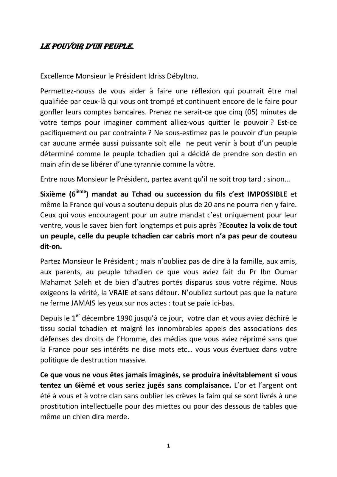 Tchad: LE POUVOIR D'UN PEUPLE