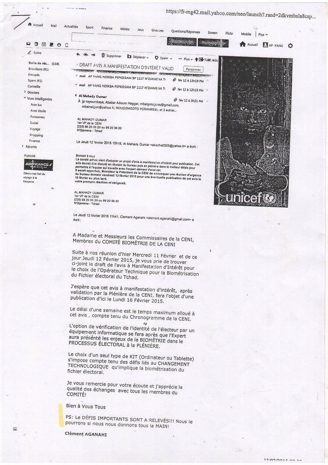 Echange de mails interceptés entre les mercénaires en col blanc Abakar Adoum HAGGAR et Clément AGANAHI
