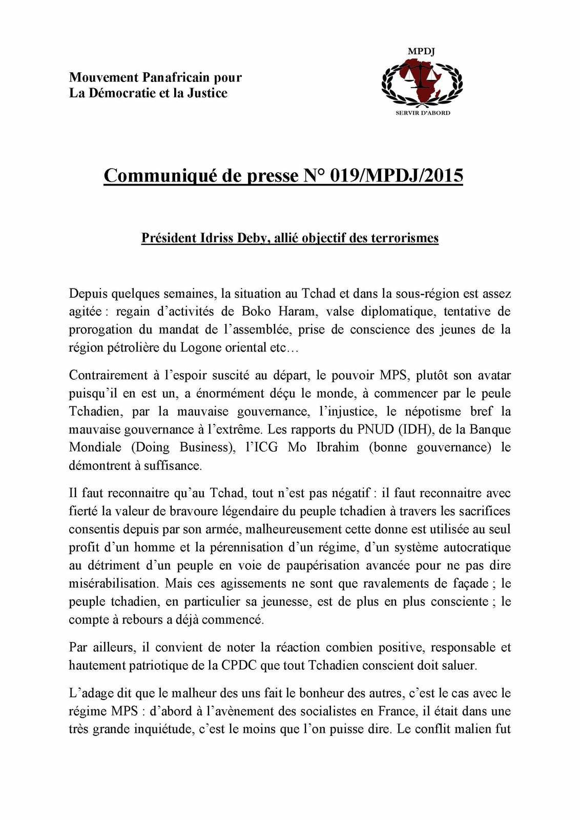 MPDJ: Idrisss Deby, allié objectif des terrorismes (communiqué de presse)