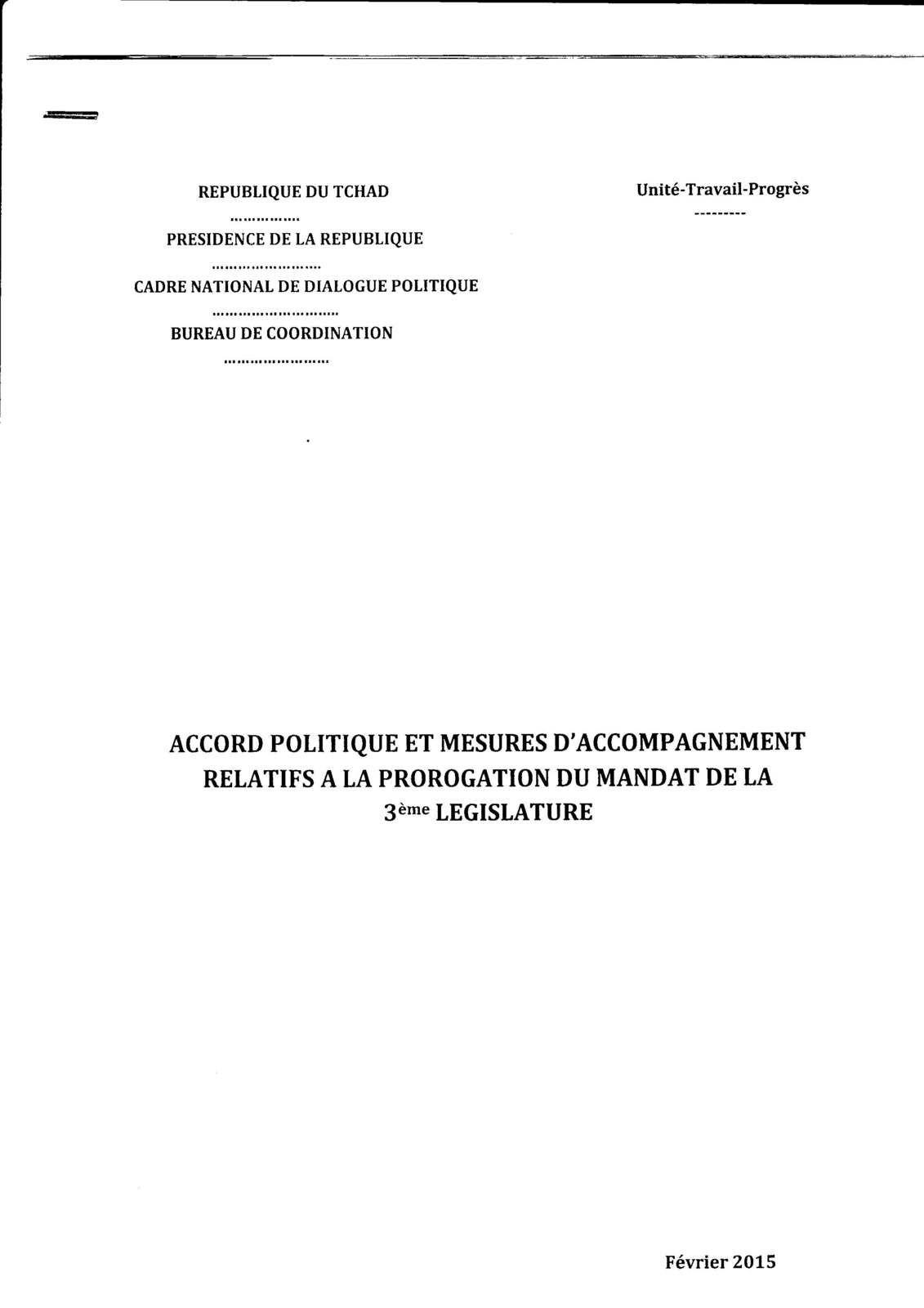 3ème législature au Tchad( voir l'accord politique)