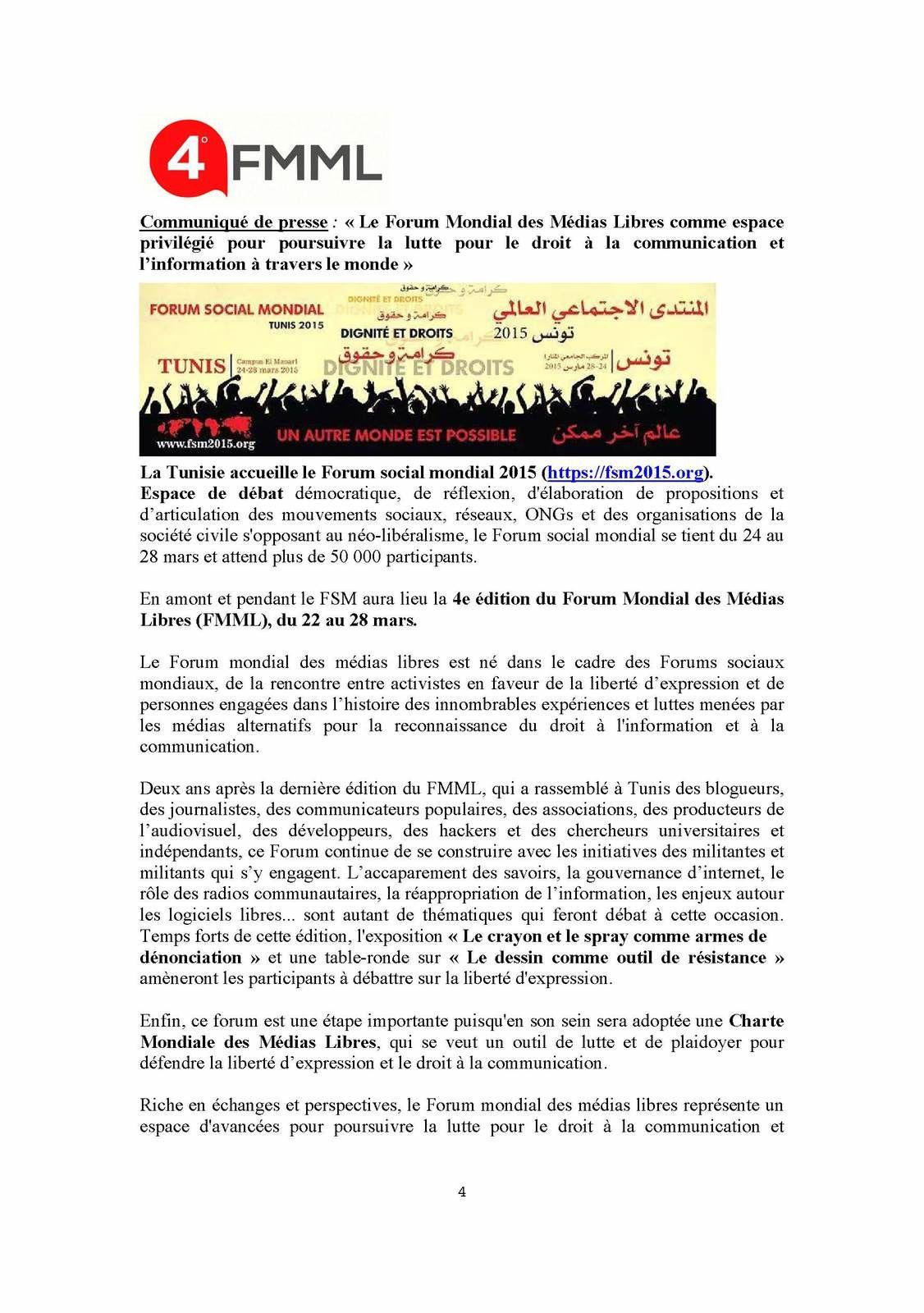 Communiqué de presse: «Le Forum Mondial des Médias Libres comme espace privilégié pour poursuivre la lutte pour le droit à la communication et l'information à travers le monde»