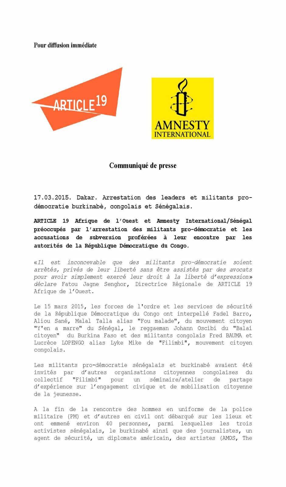 RDC: détention illégale des militants pro-démocratie, Article 19 et Amnesty/Sénégal réclament leur libération à Dakar
