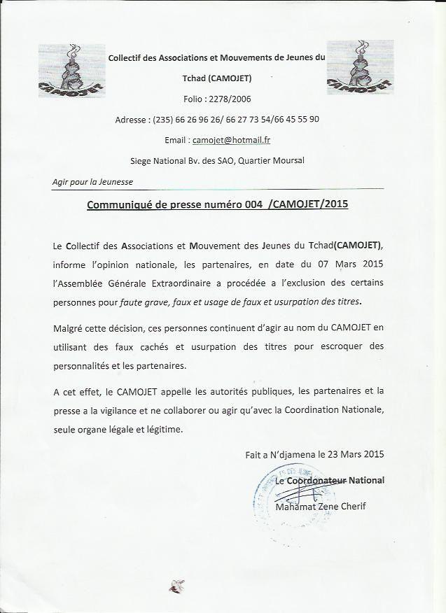 Faux et usage de faux: le CAMOJET exclut ses membres et alerte l'opinion