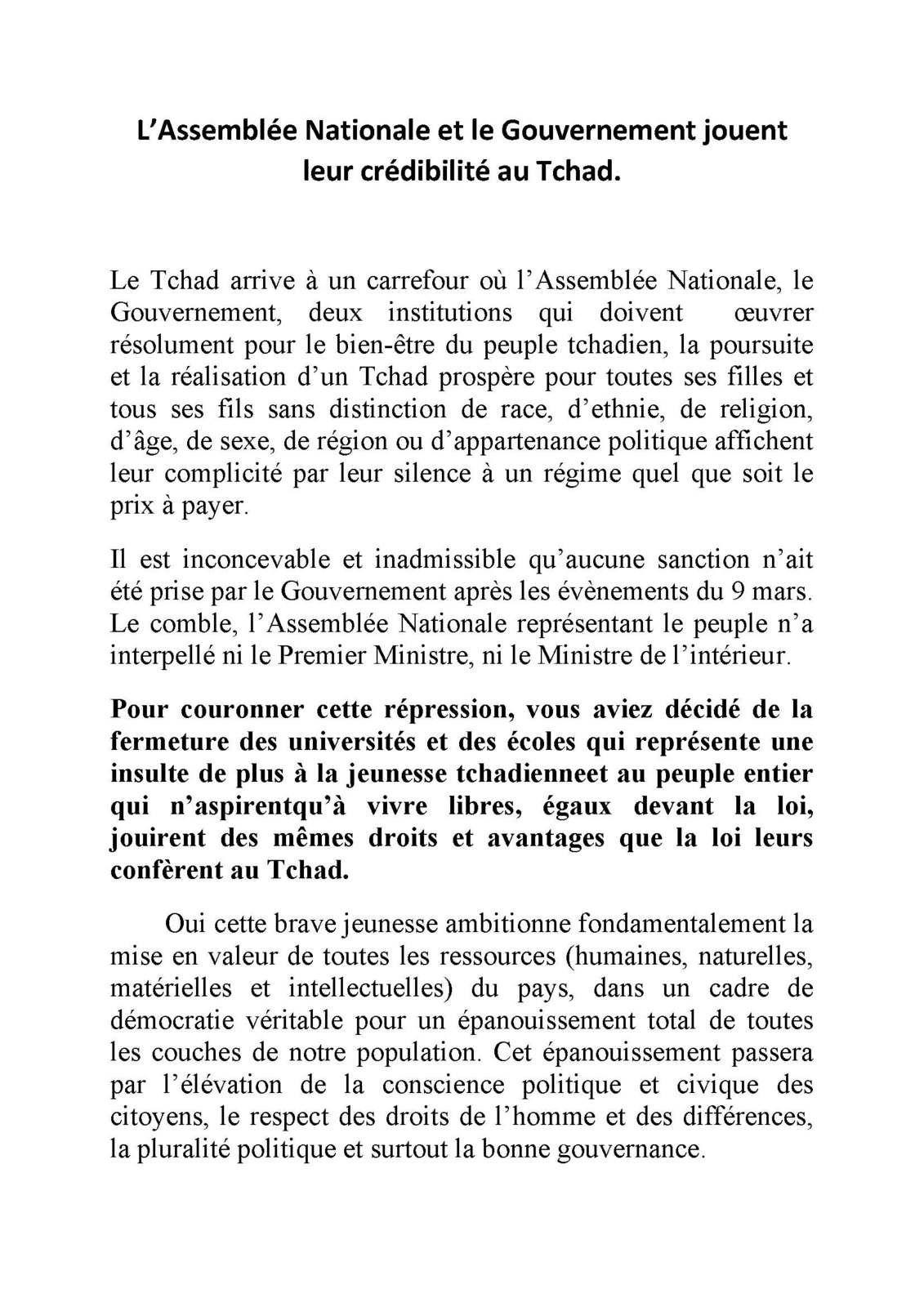 L'Assemblée Nationale et le Gouvernement jouent leur crédibilité au Tchad