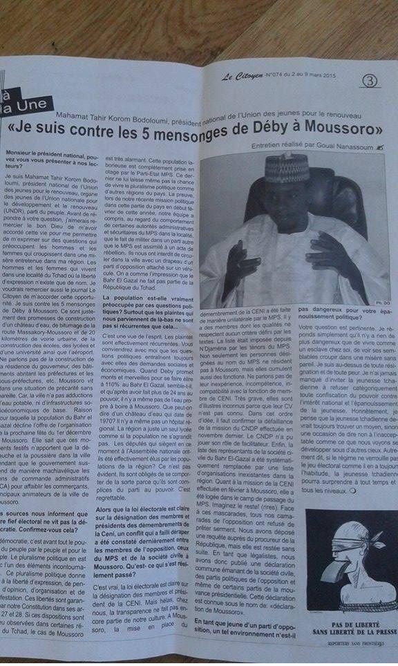 Tchad: Mahamat Taher Korom relève les 5 mensonges d'Idriss  Deby à Moussoro