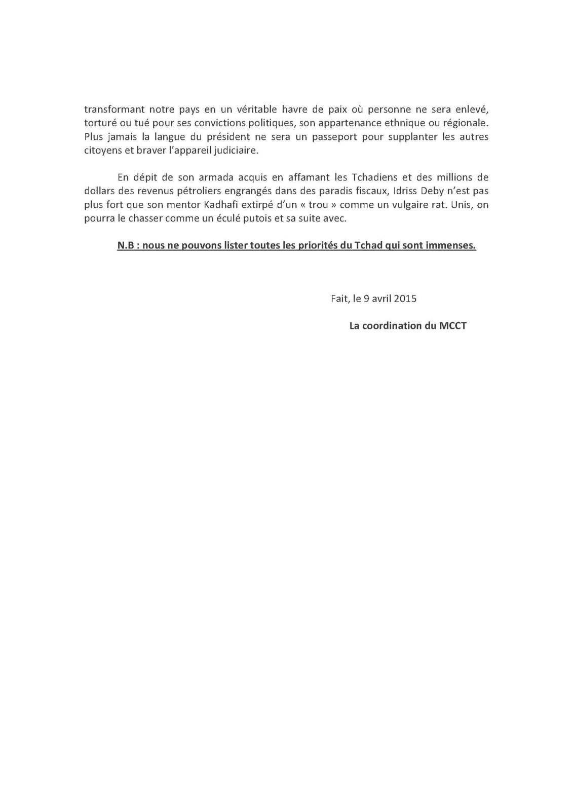 Projet du MCCT pour le Tchad