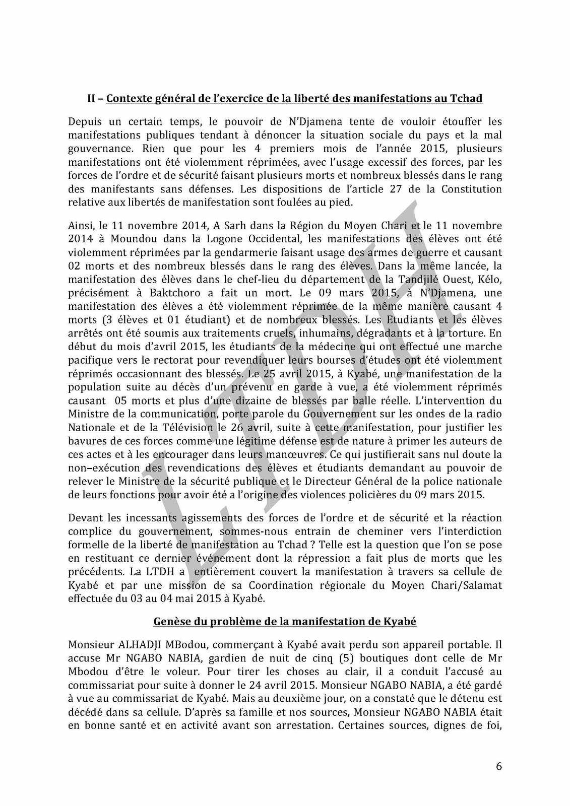 Tchad:&quot&#x3B; De la torture aux massacres&quot&#x3B;, rapport de la LTDH