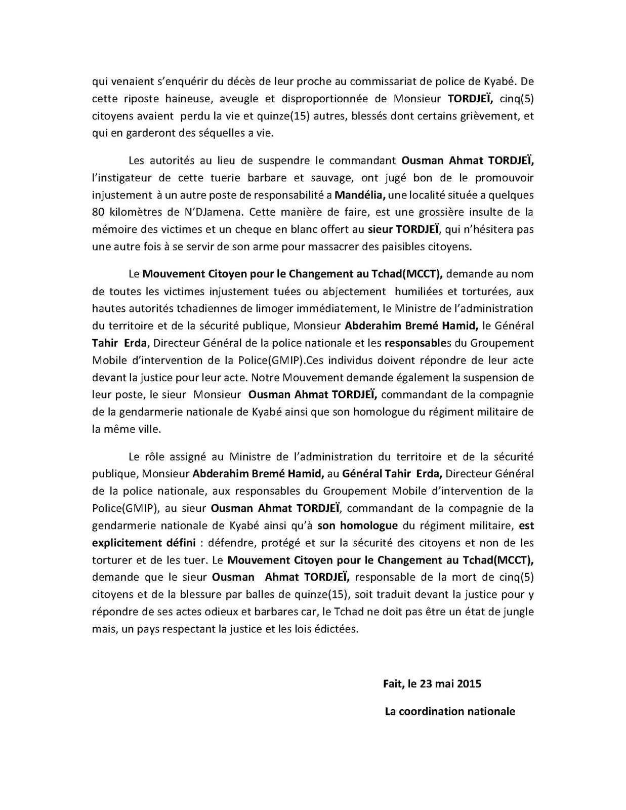 Tueries et détournements banalisés au Tchad: le MCCT s'insurge