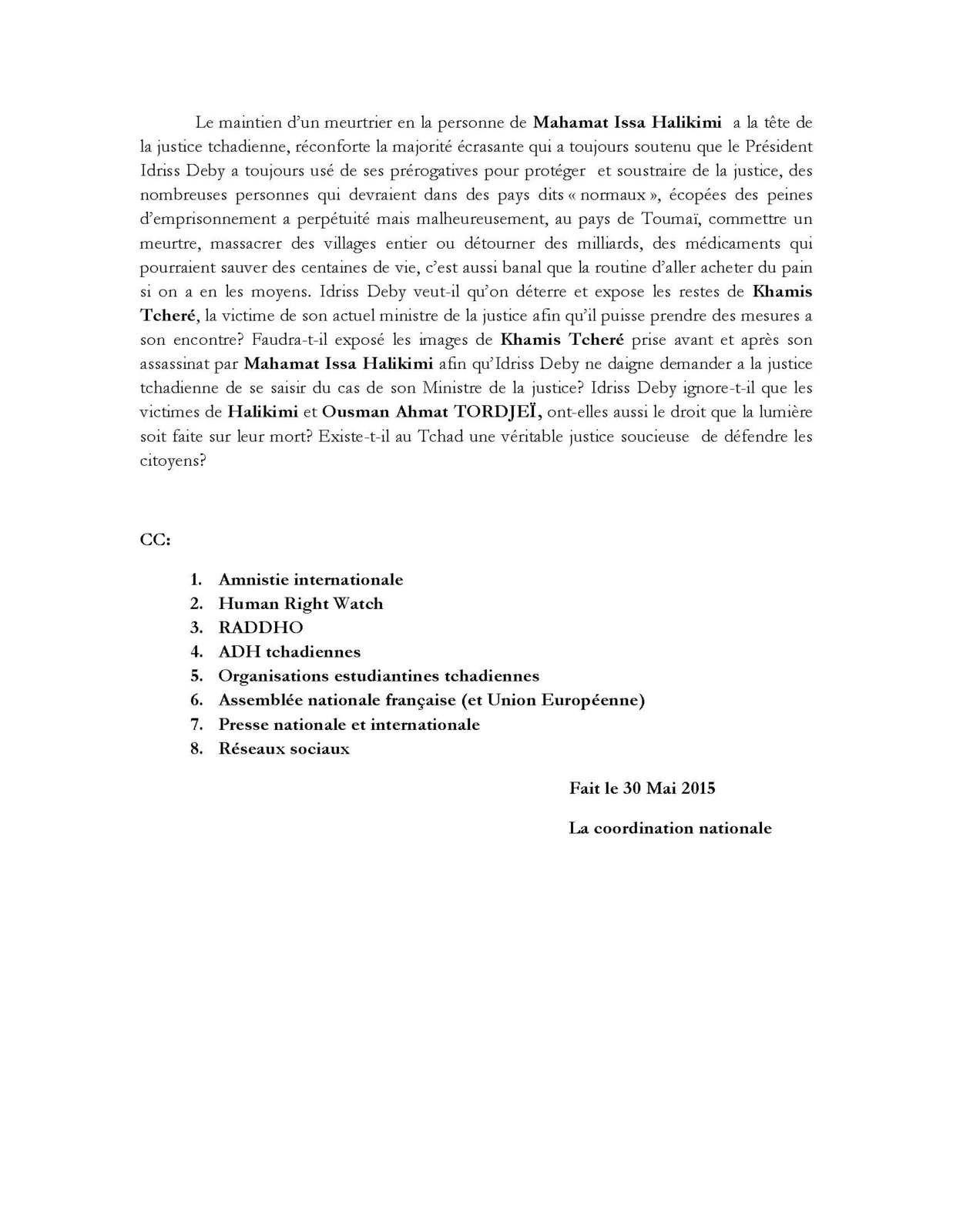 MCCT: existe-t-il au Tchad une justice soucieuse de défendre les citoyens?