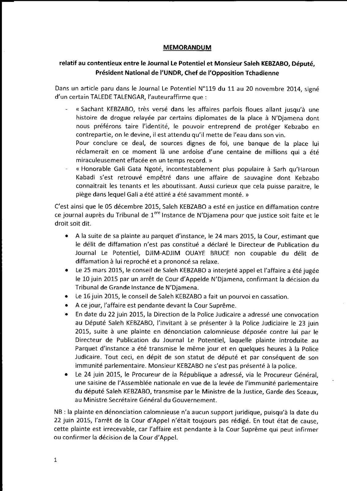 Affaire de diffamation de Kebzabo: la plainte de dénonciation n'a aucun support juridique