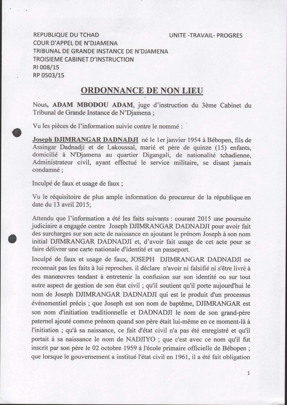Justice: non lieu dans l'affaire Dadnadji au Tchad, l'ancien PM lance le CAP-SUR