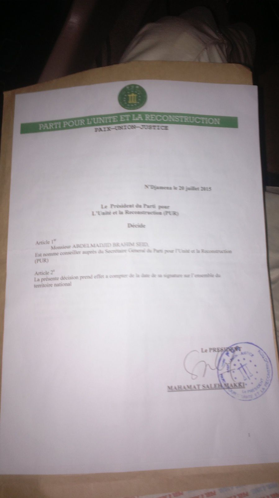 Tchad: M.Abdelmadjid Brahim Seid, un cadre nommé conseiller auprès du Président du PUR, Mahamat Saleh Makki