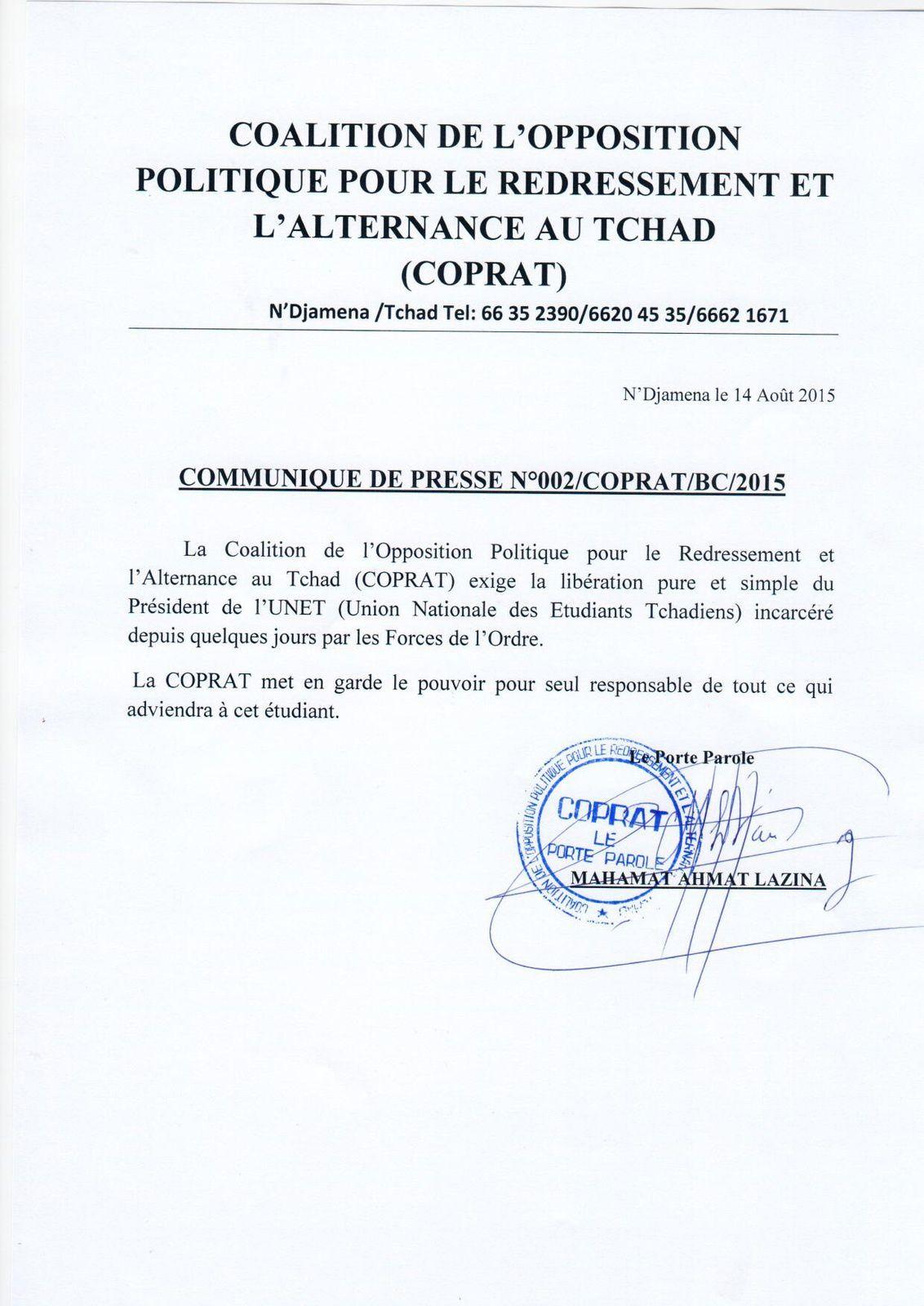 Tchad: la COPRAT exige la libération le Président de l'UNET