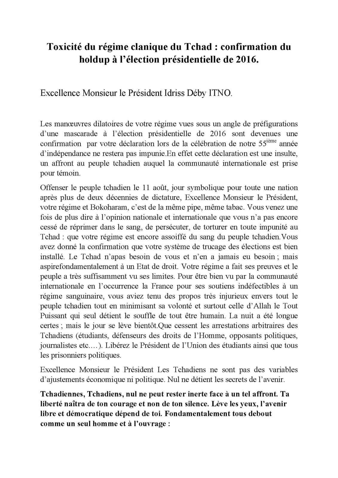 Toxicité du régime clanique du Tchad : confirmation du holdup à l'élection présidentielle de 2016