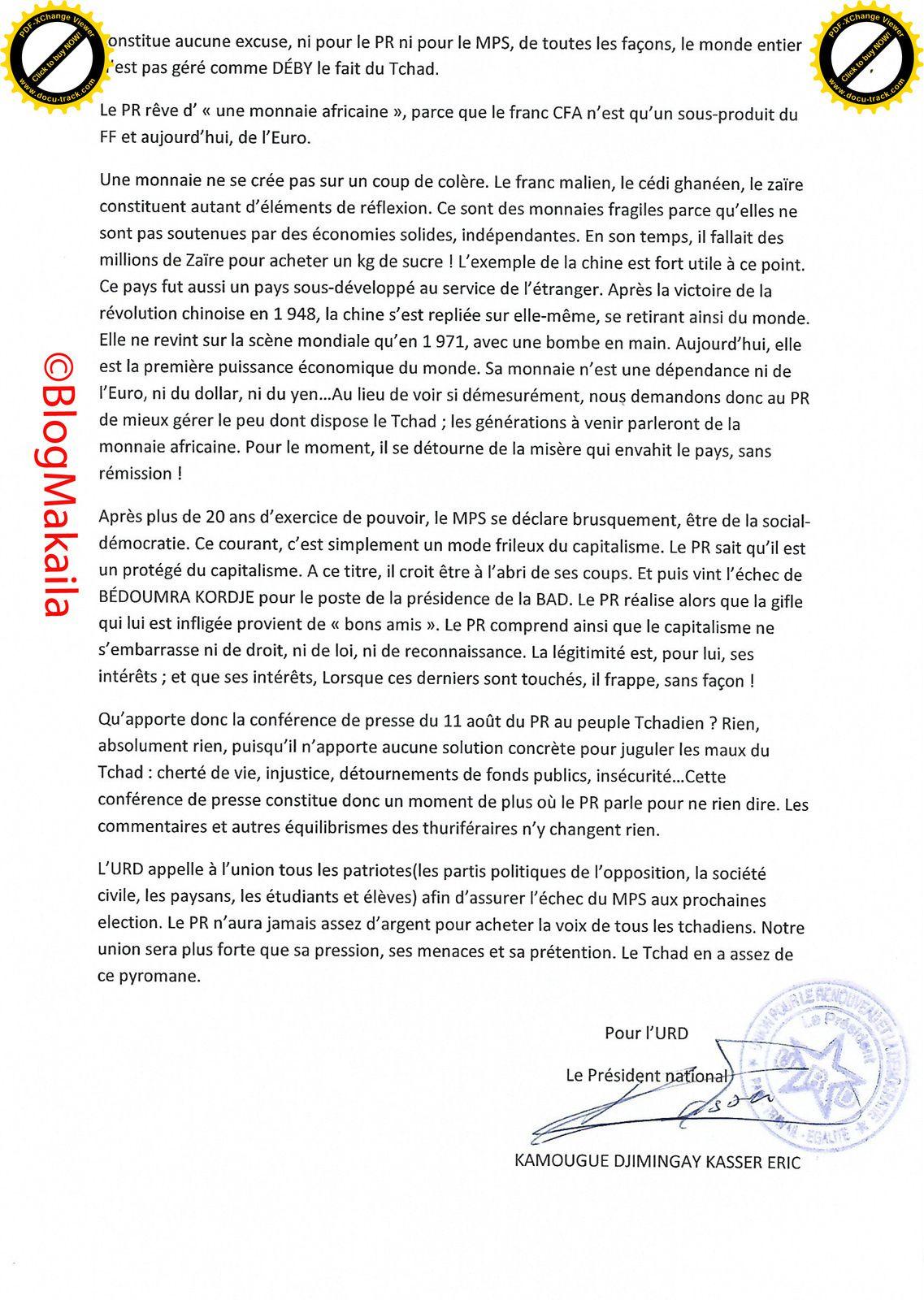 Relecture du discours du Président de la République (PR) du 11 août 2 015