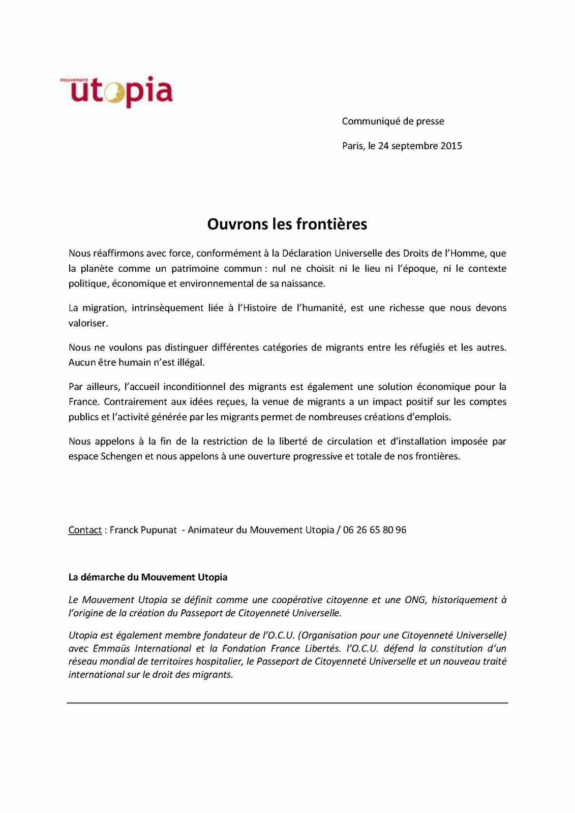 France: l'ONG Utopia appelle à l'ouverture des frontières