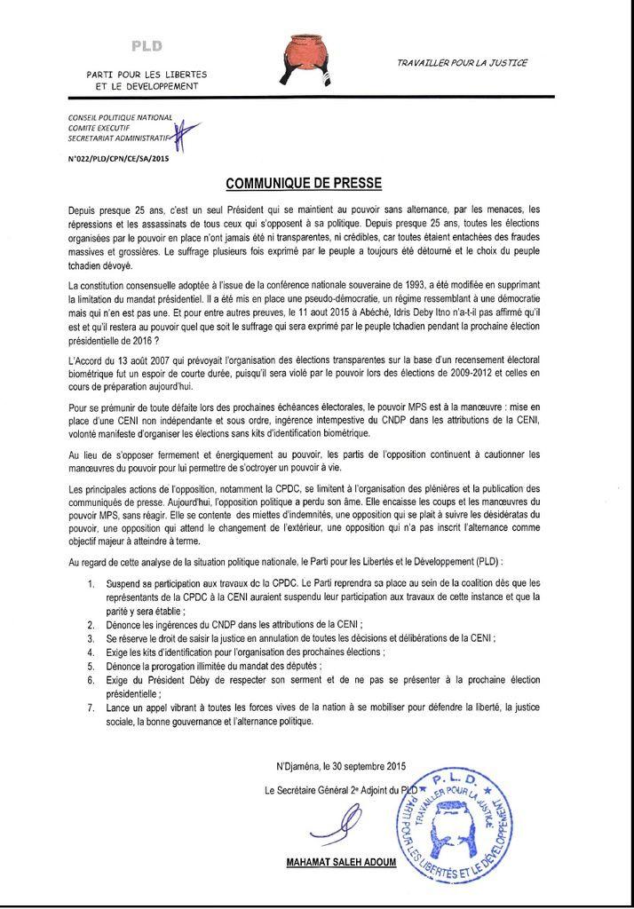 Tchad: le PLD  exige d'Idriss Deby le respect de son serment