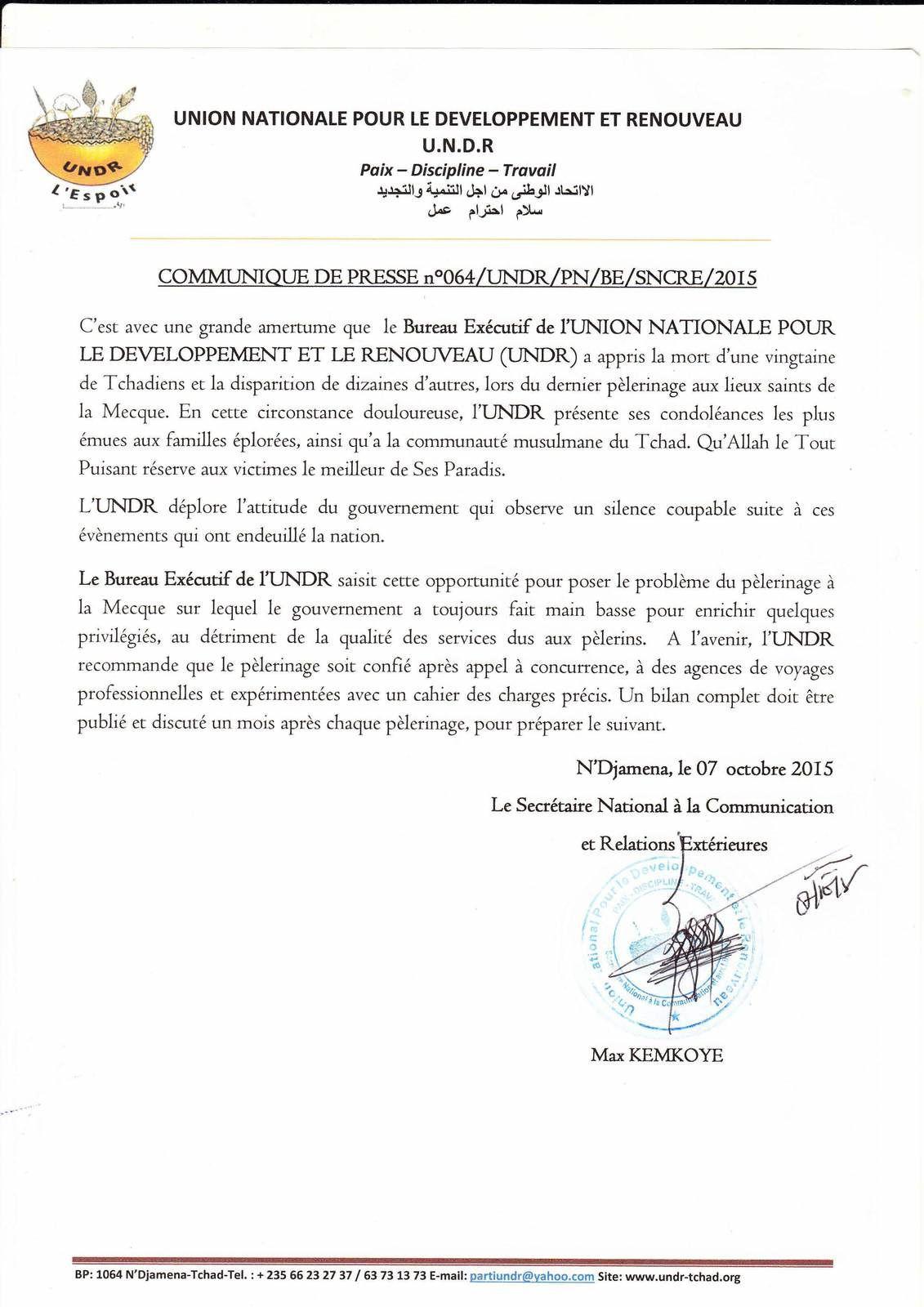 Pélérins tchadiens morts à la mecque: l'UNDR exige des autorités le bilan complét