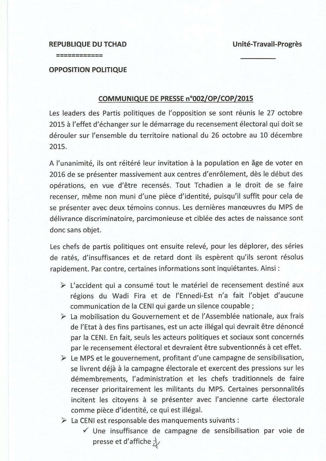 Tchad: l'UNDR invite les leaders des partis à la vigilance