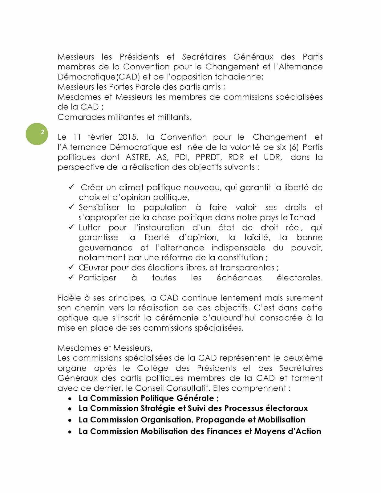 Tchad: discours du porte-parole de la CAD