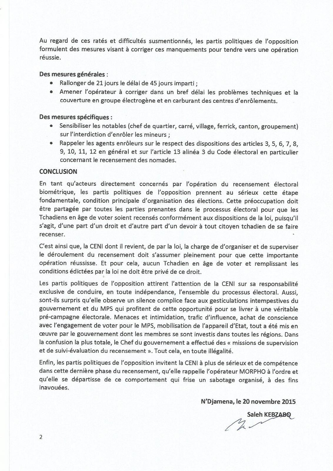 Mémorandum: l'opposition  tchadienne suspecte l'opérateur MORPHO