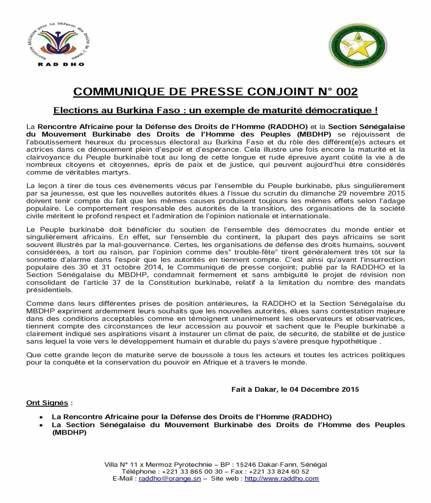 Election au Burkina-Faso: un exemple démocratique (RADDHO/MBDHP)
