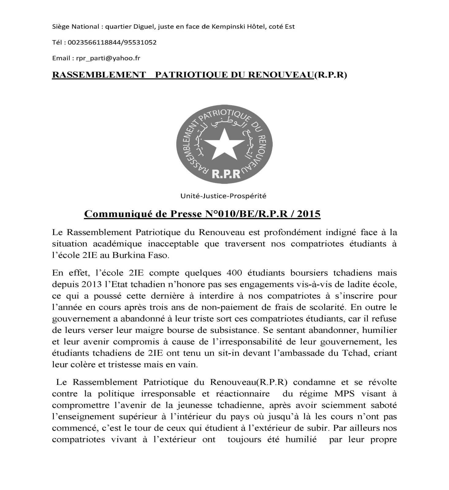 Sort des étudiants #400tchadiens au Burkina Le RPR s'inquiéte et exige la résolution immédiate
