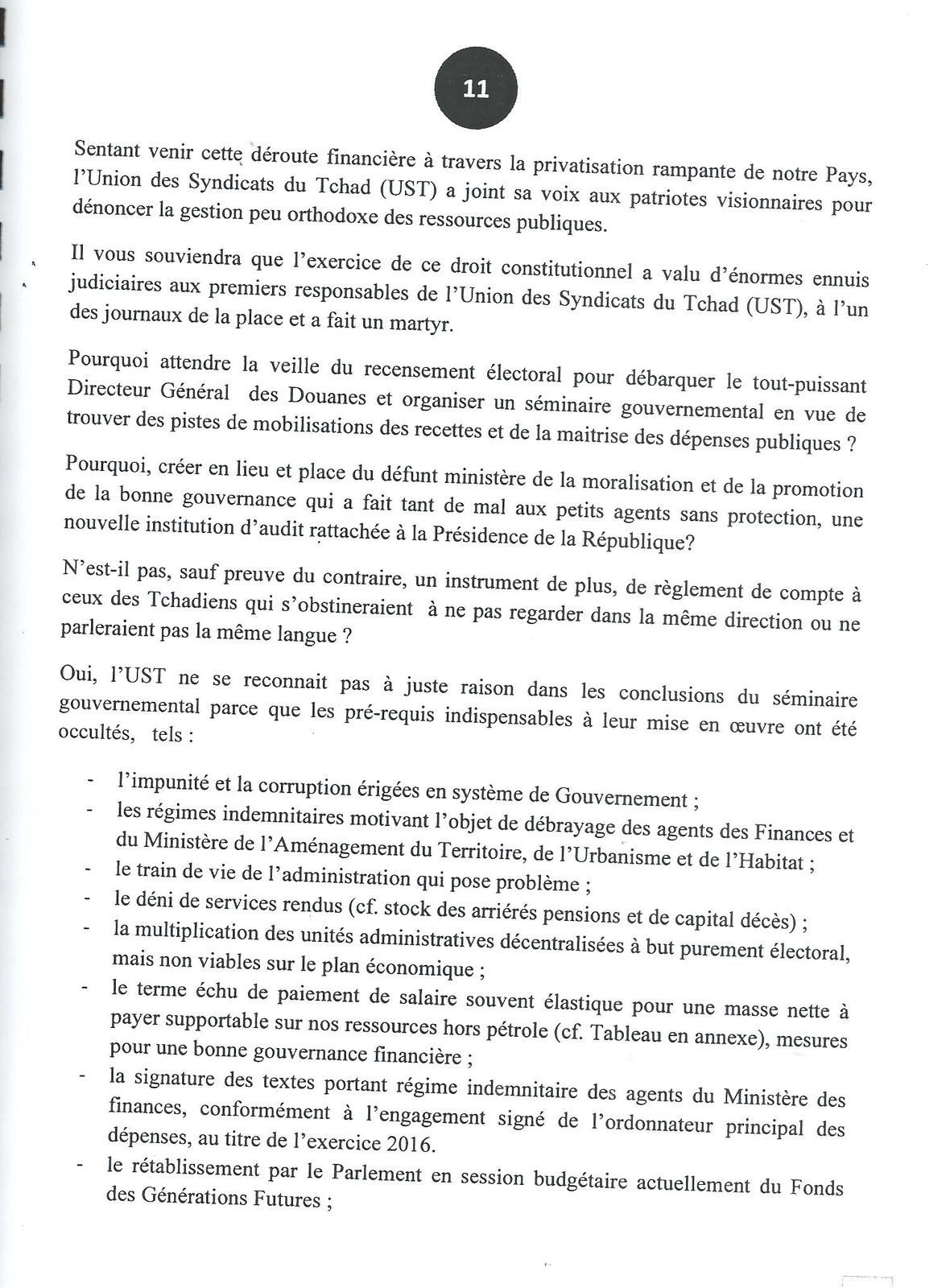 Appel de l'UST:Stop à la mauvaise gouvernance au Tchad