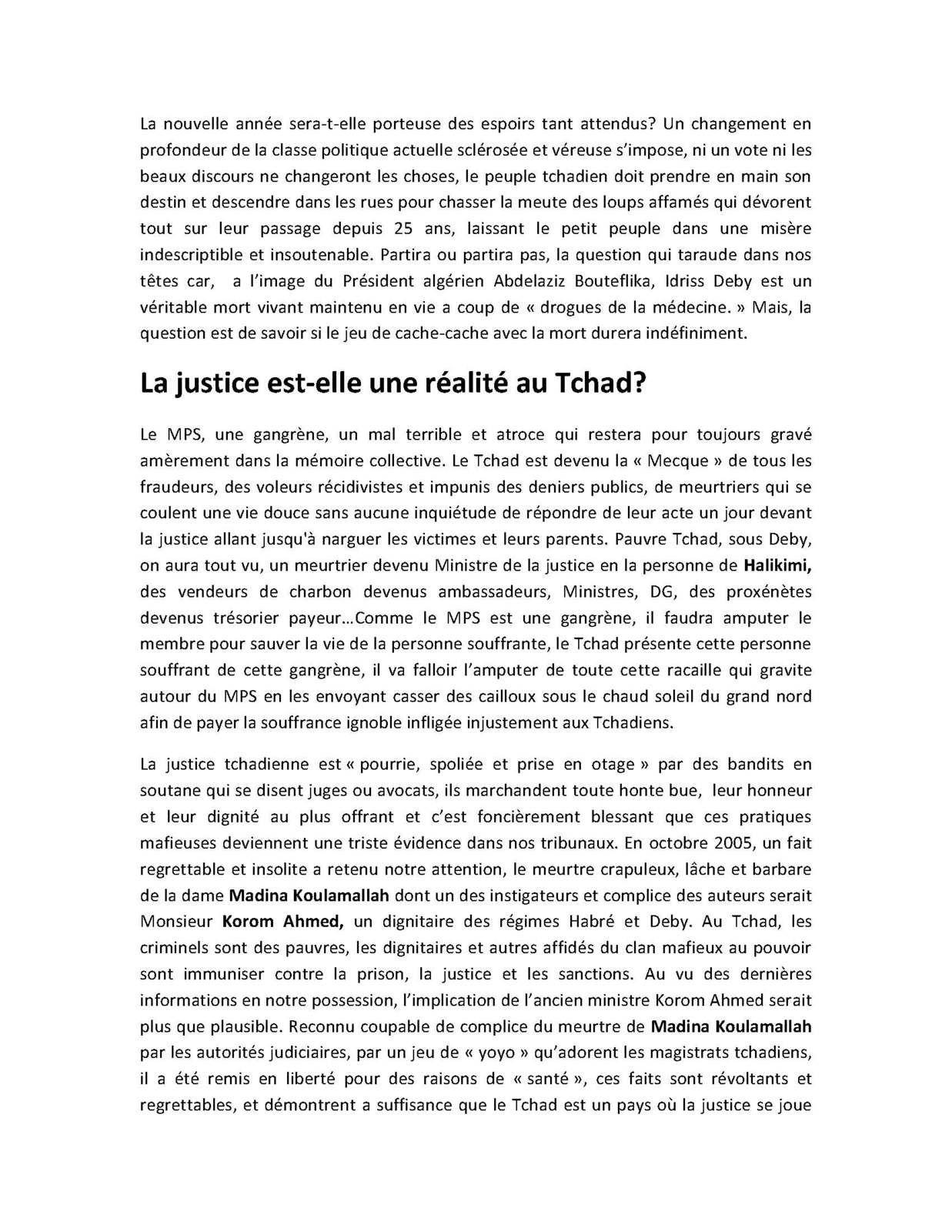 Le communiqué du MCCT sur la situation générale du Tchad