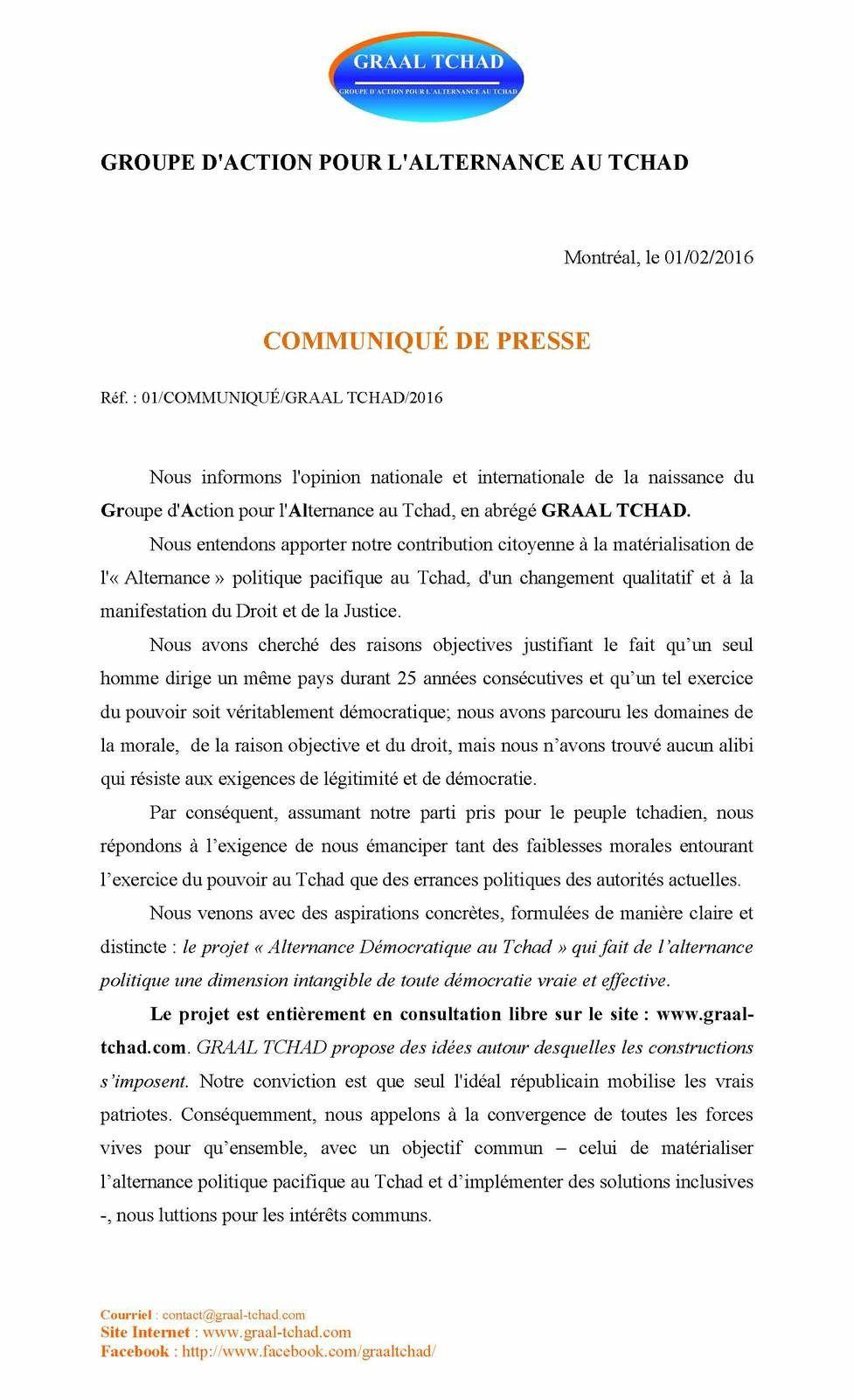 Pour l'alternance au Tchad, un groupe d'actions lancé  depuis le Canada