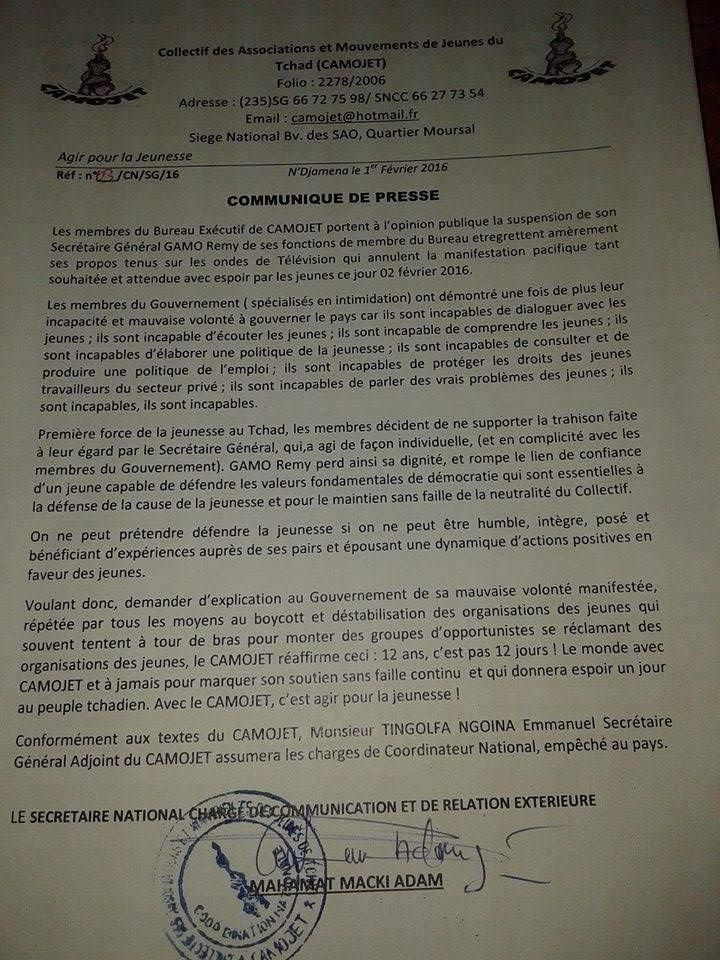 Tchad: GAMO REMY accusé de trahison puis suspendu par le CAMOJET