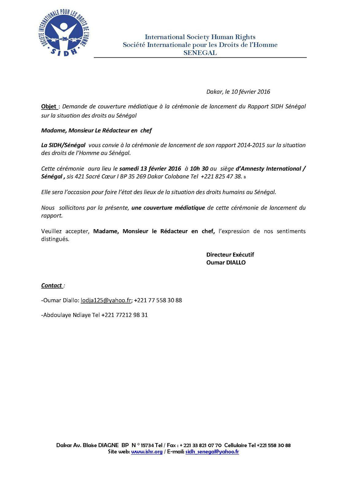 Invitation /Presse de la SIDH