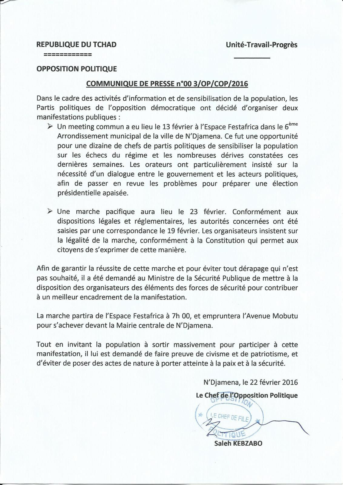Pour la marche pacifique du 23 février: l'opposition appelle les autorités à assurer la sécurité des participants