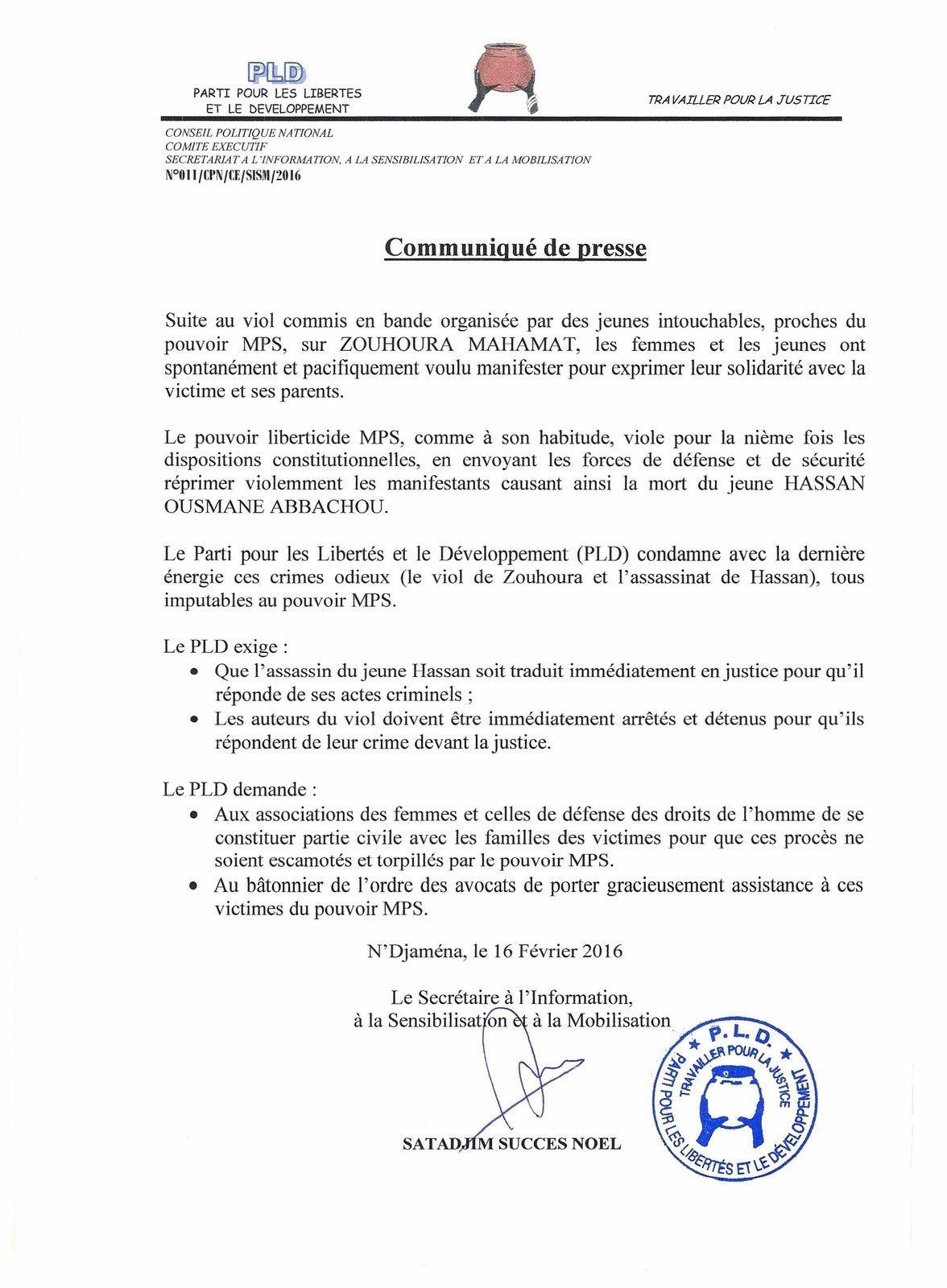 Résolutions du Congrés Extraordinaire du PLD au Tchad