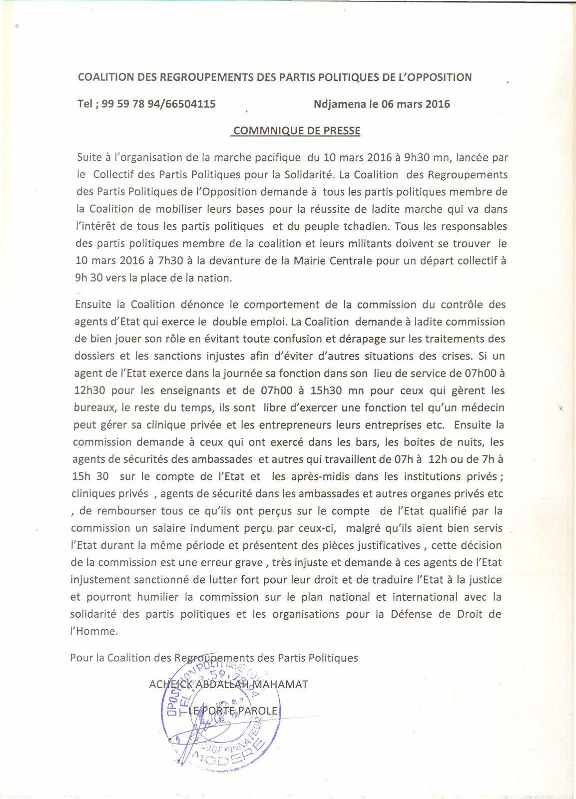 Marche 10 mars 2016: la CRPPO appelle à la mobilisation générale au Tchad