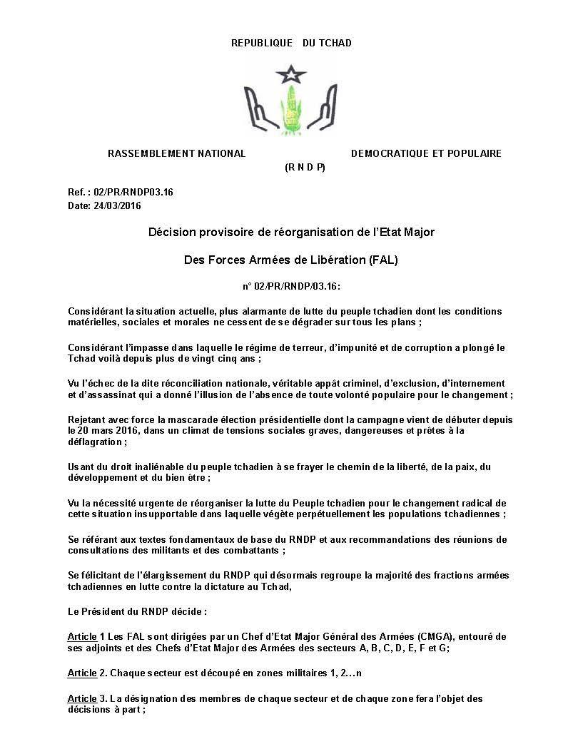 Tchad: le RNDP rejette la mascarade électorale