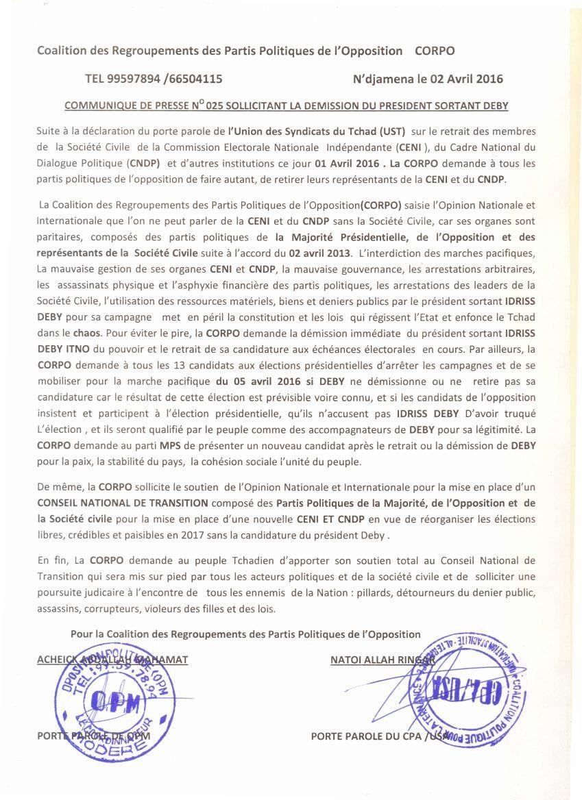 Tchad: la CORPO appelle l'opposition à se retirer de la CENI  et du CNDP