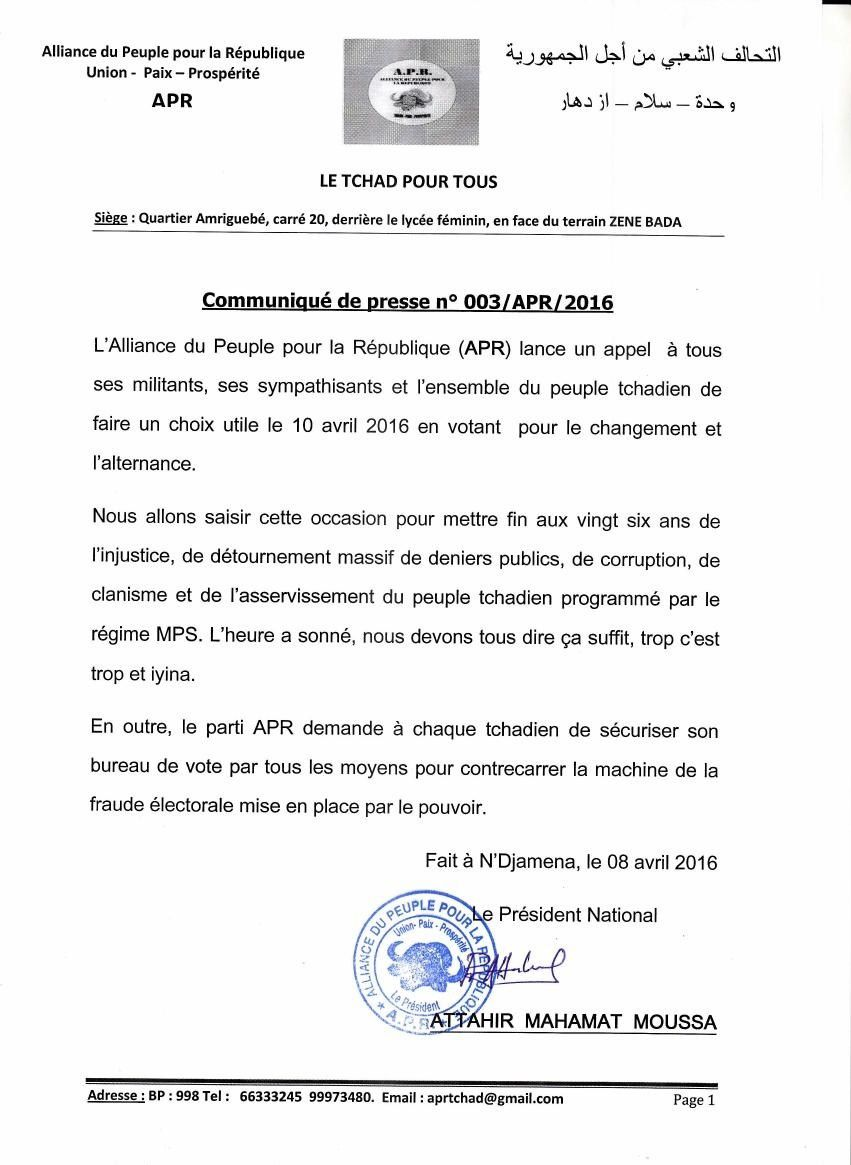 Election au Tchad: l'APR lance un appel au peuple pour l'alternance
