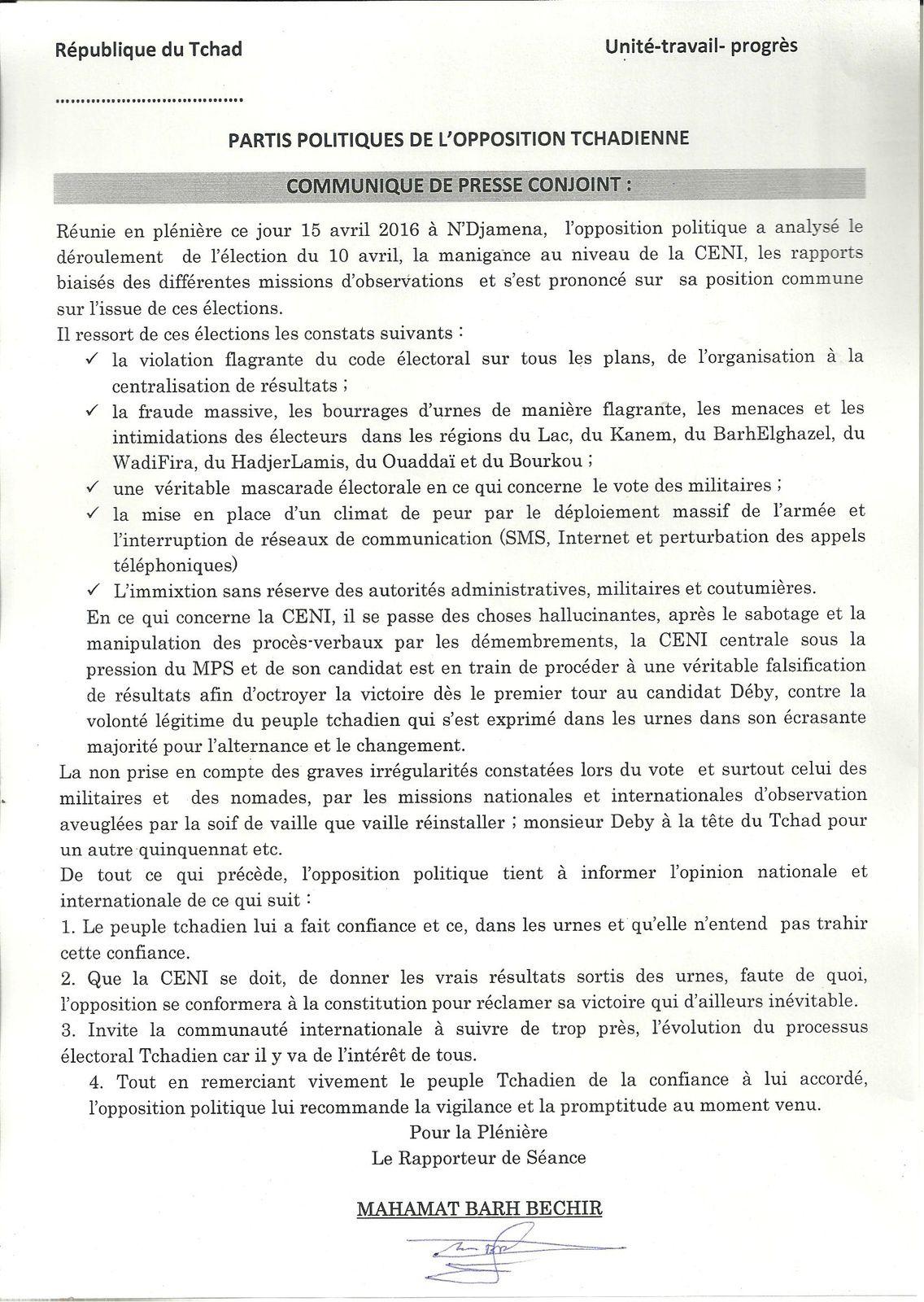 Violation flagrante du code électoral au Tchad