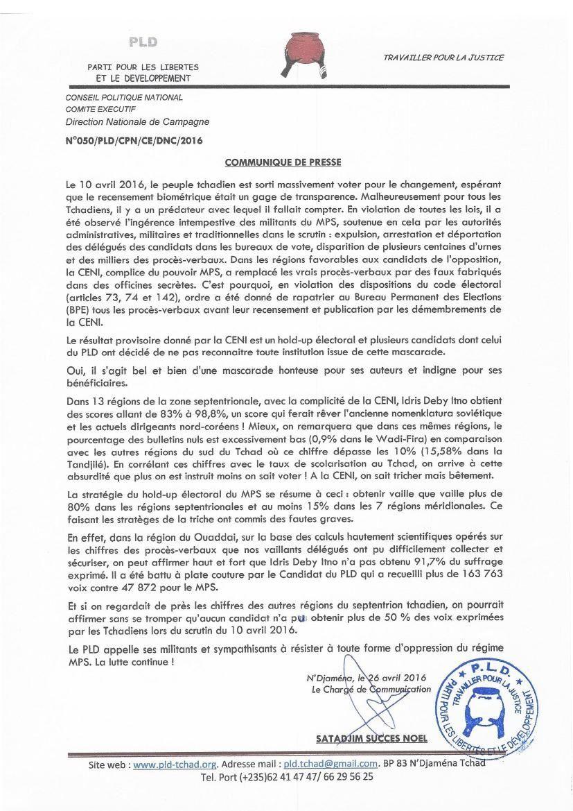 Tchad: le PLD appelle à la résistance contre toute forme d'oppression